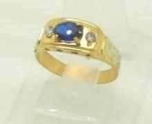 Anel de Formatura Pedras Sintéticas Ouro Amarelo 18k 750