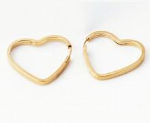 Brinco Argola Coração Ouro Amarelo 18k 750