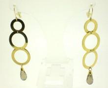 Brinco Círculos Cristal Ouro Amarelo 18k 750
