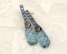 Brinco Topázio Azul Gota e Diamante Ouro Branco 18k 750 (1)