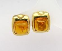 Brinco Âmbar Cabochon Ouro Amarelo 18k 750 (3)
