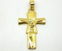 Crucifixo Raiado Ouro Amarelo 18k 750