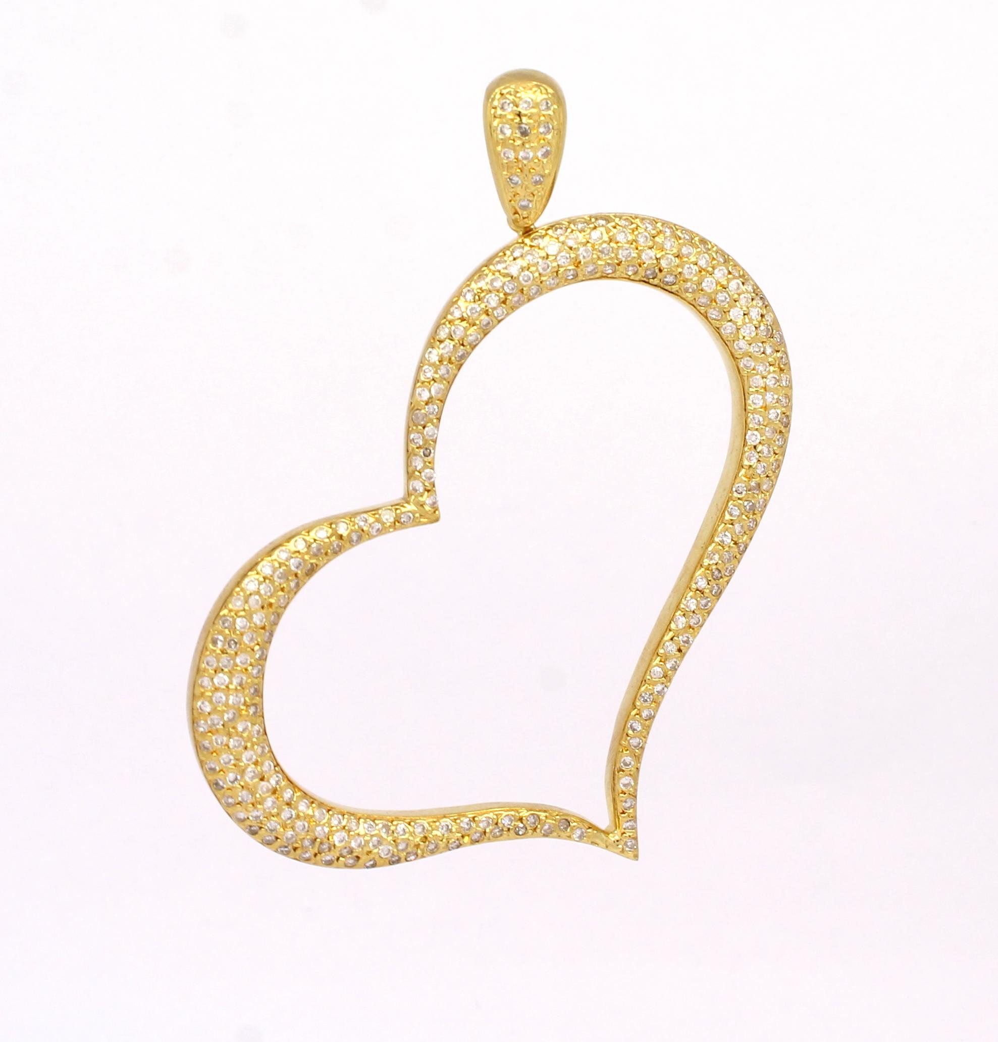 4a0351033f196 Pingente Coração Diamantes Ouro Amarelo 18k 750 - Marcio Joalheiros ...