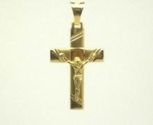 Pingente Crucifixo Raiado Ouro Amarelo 18k 750