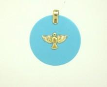 Pingente Divino Espírito Santo Turquesa Ouro Amarelo 18k 750