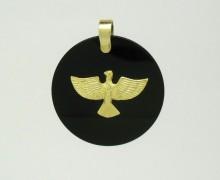 Pingente Divino Espírito Santo Ônix Redondo Ouro Amarelo 18k 750