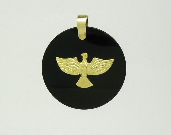 Pingente Divino Espírito Santo Ônix Redondo Ouro Amarelo 18k 750 ... 5c03ade768