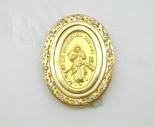 Pingente Nossa Senhora Desatadoras dos Nós Zircônio Ouro Amarelo 18k 750