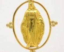 Pingente Nossa Senhora das Graças Zircônio Ouro Amarelo 18k 750