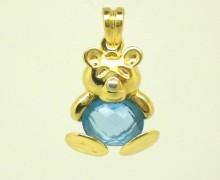 Pingente Ursinho Topázio Azul Ouro Amarelo 18k 750