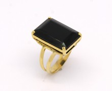 Anel Ônix Retangular Ouro Amarelo 18k 750 (1)