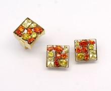 Conjunto de Topázio Quadrado Ouro Amarelo 18k 750 (1)