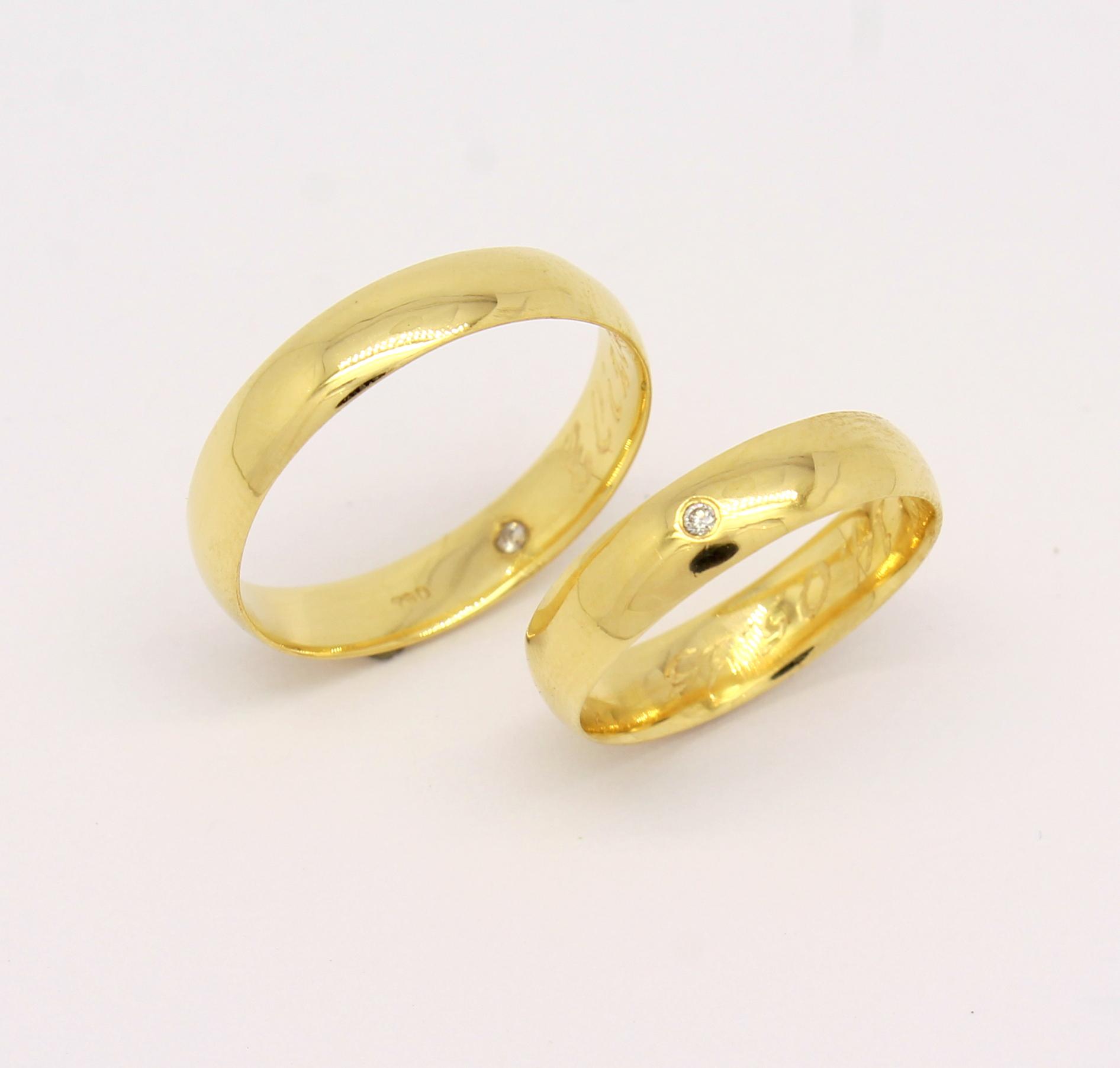 bbf88bcb33e Par de Alianças 9 gramas Tradicional Zircônio Ouro Amarelo 18k 750