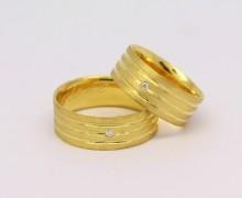 Alianças Listradas 13 gramas 7mm Ouro Amarelo 18k 750 (4)