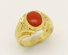 Anel Coral Diamantes Ouro Amarelo 18k 750 (4)