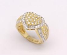 Anel Coração Diamantes Ouro Amarelo e Ouro Branco 18k 750 (2)