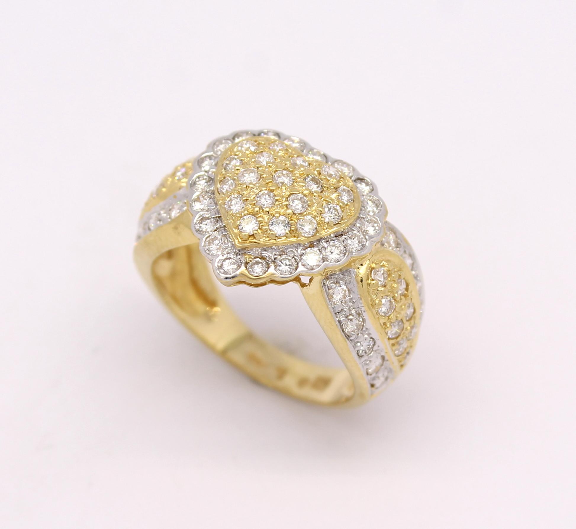 c5ee5402d25 Anel Coração Diamantes Ouro Amarelo e Ouro Branco 18k 750 - Marcio ...