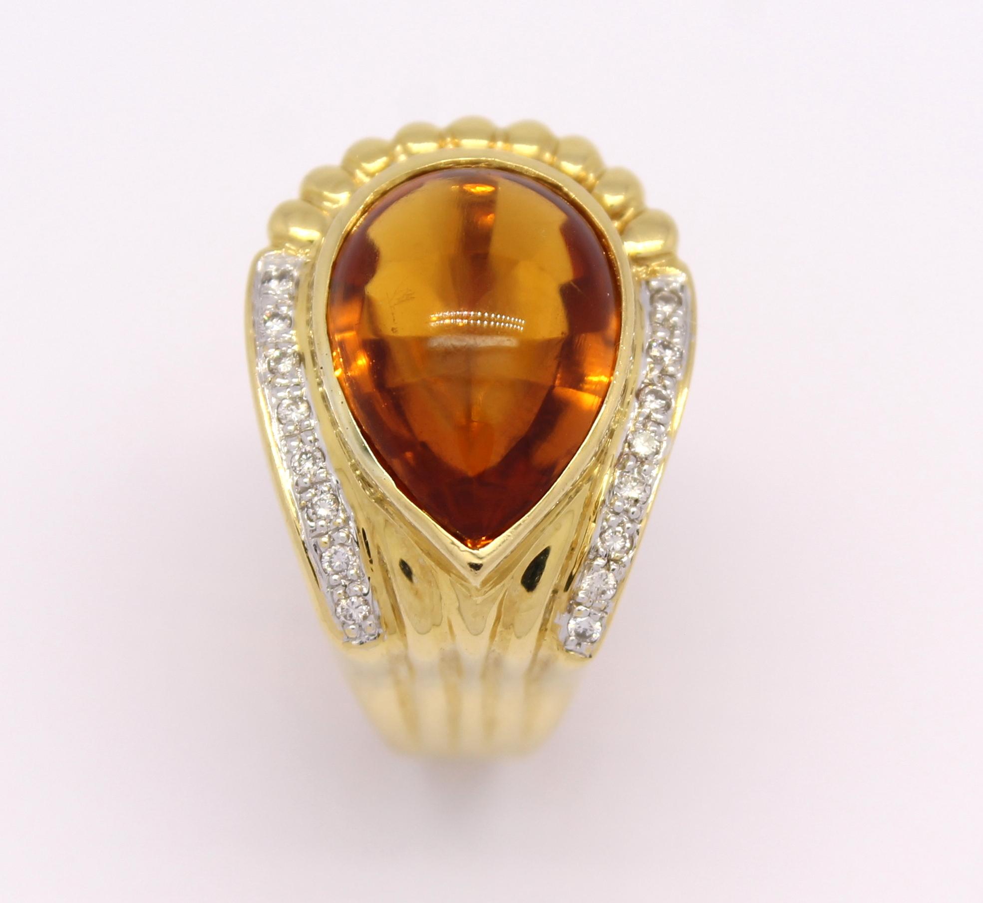 Anel Gota Topázio Amarelo Diamantes Ouro Amarelo 18k 750 - Marcio ... d79e7542d1