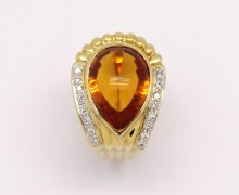 Anel Gota Topazio Amarelo Diamantes Ouro Amarelo 18k 750 (5)
