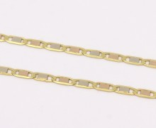 Corrente Laminada 60 cm 3 ouros 18k 750 (1)