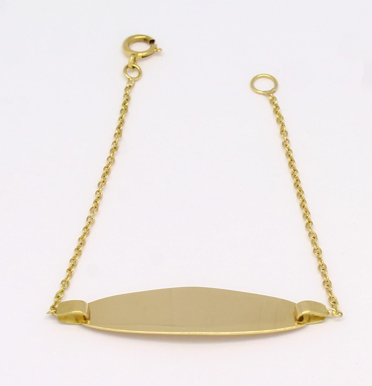951076ab371fe Pulseira Chapinha Oval Infantil Ouro Amarelo 18k 750