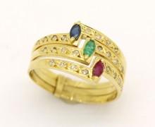 Anel Rubi, Safira, Esmeralda e Diamantes Ouro Amarelo  18k 750 (2)