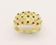 Anel Safira, Rubi, Esmeralda e Diamantes Ouro Amarelo18k 750    (4)