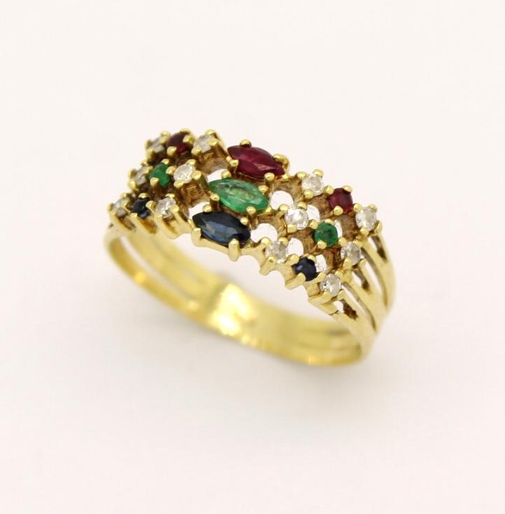 Meia Aliança Diamante, Rubi, Safira, Esmeralda e Ouro 18k 750 ... ae132e6e8c