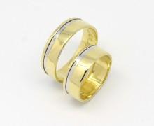 Par de Alianças 16 gramas Ouro Amarelo Fio de Ouro Branco 18k 750 (3)