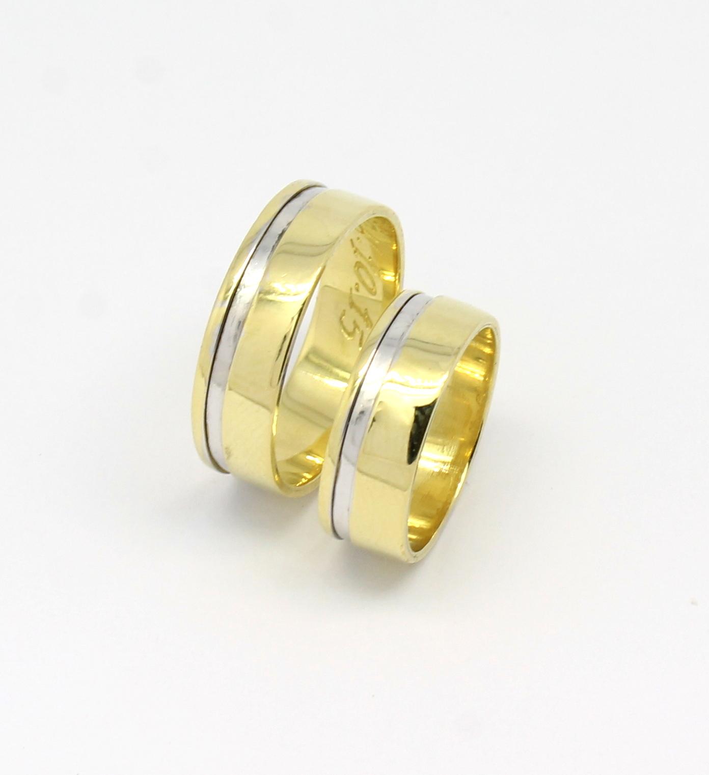 Par de Alianças 16 gramas Ouro Amarelo Fio de Ouro Branco 18k 750 ... 7f6587de7c