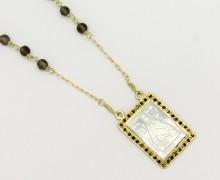 Terço Nossa Senhora Aparecida Madrepérola Onix Espinélio Ouro Amarelo 18k 750 (3)