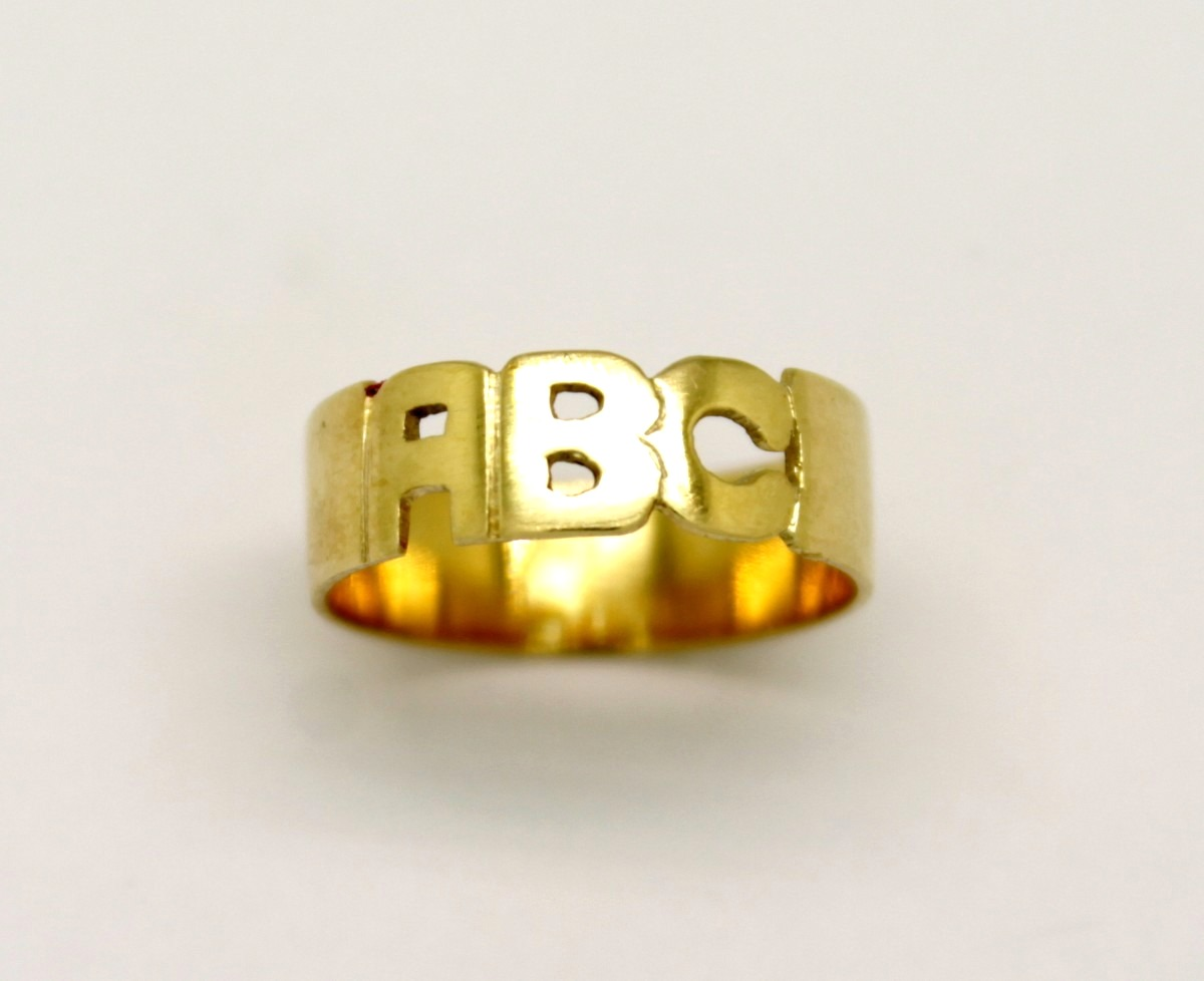 b839b22c736 Anel Abc Infantil Ouro Amarelo 18k 750 - Marcio Joalheiros   Marcio ...