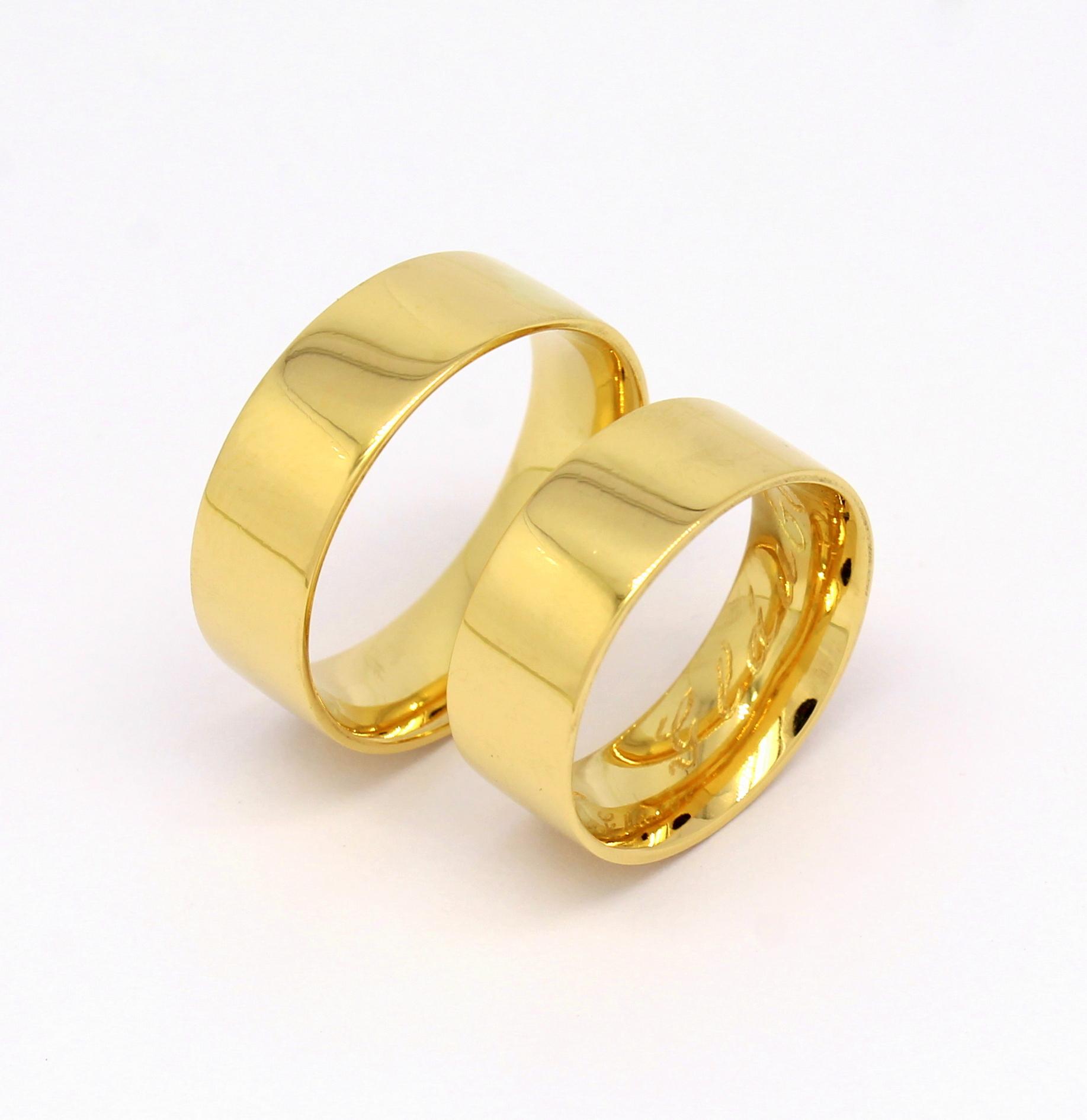 Par de Alianças 16 gramas 7mm Ouro 18k 750 - Marcio Joalheiros ... 2fd8f44b86