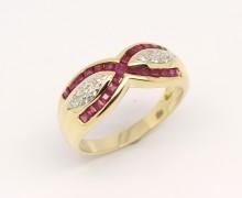 Anel Feminino Diamante e Rubelita Ouro Amarelo 18k 750 (10)