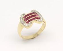 Anel Feminino Diamante e Rubi Ouro 18k 750 (1)