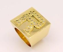 Anel Masculino Letra 22 gramas Zircônios Ouro 18k 750 (11)