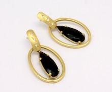 Brinco Oval Ônix e Zircônio Ouro Amarelo 18k 750 (8)