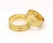Par de Alianças 10 gramas Foscas e Listradas Ouro 18k 750 (6)