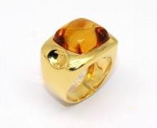 Anel Âmbar Cabochon Ouro Amarelo 18k 750 (5)