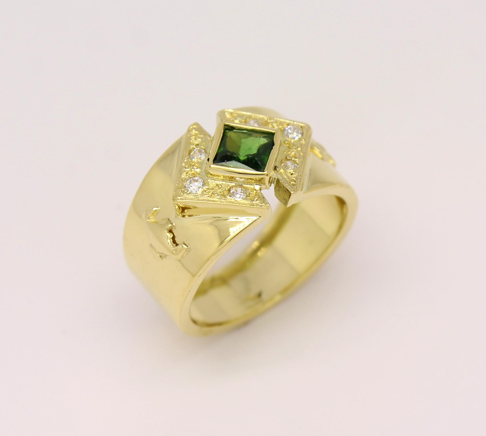 b379870eee741 Anel de Formatura Pedra Quadrada Ouro Amarelo 18k 750 - Marcio ...