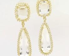 Brinco Gota Cristal e Zircônios Ouro 18k 750 (3)