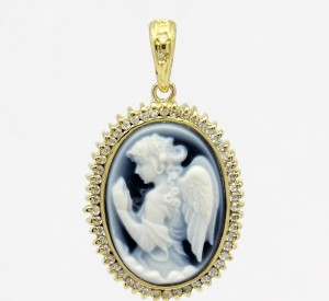 Pingente Camafeu Ágata Azul Pequeno Ouro 18k 750 (2)