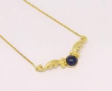 Colar Safira Cabochon e Diamantes Ouro 18k 750 (3)