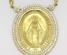 Gargantilha N. Sra. das Graças Safiras Brancas Ouro 18k 750 (15)