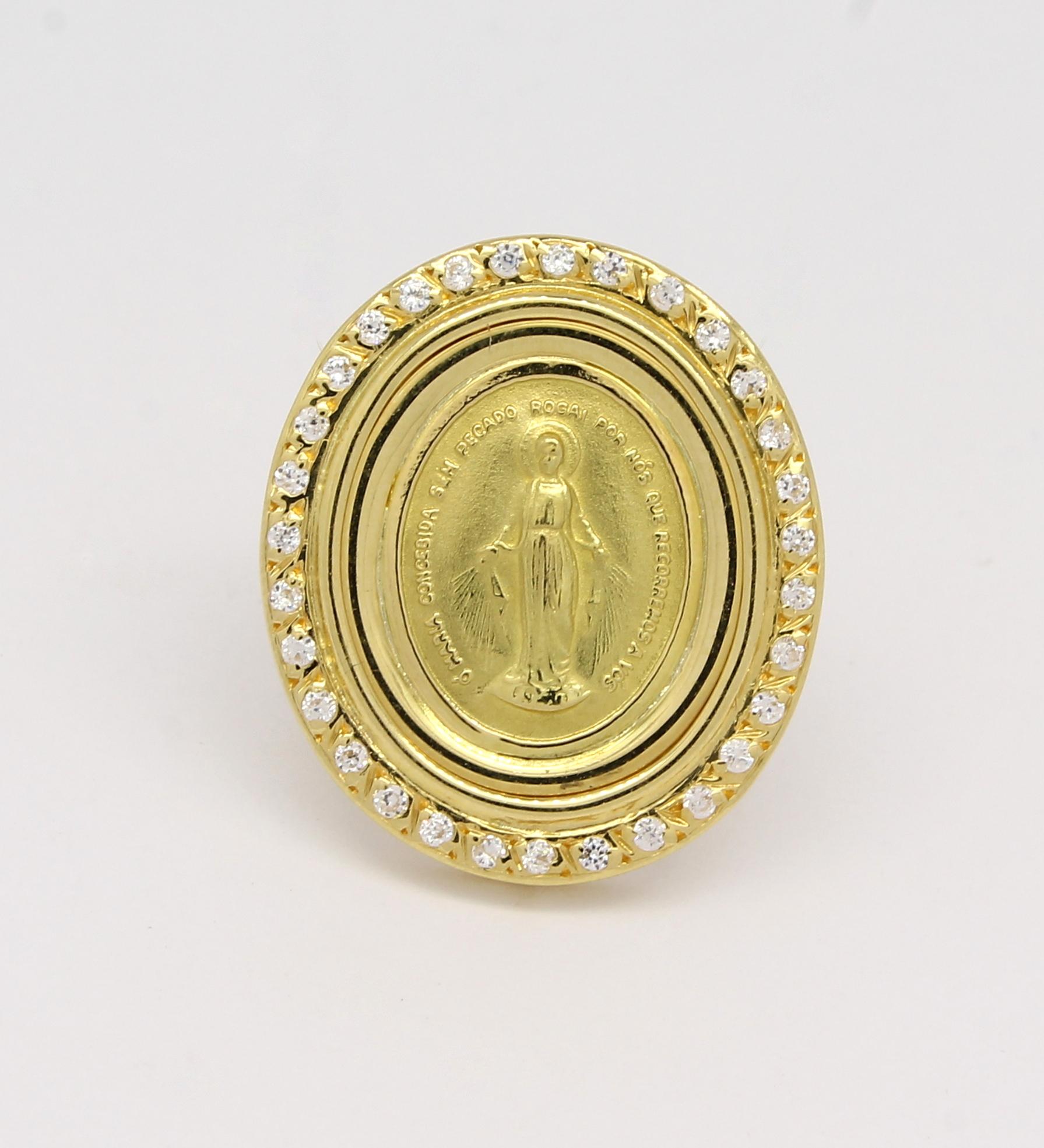 a44e2b36c4bf7 Medalha N. Sra das Graças Oval Diamantes Ouro 18k 750 - Marcio ...