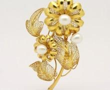 Broche Flores Filigrana Pérolas Ouro Amarelo 18k 750 (4)