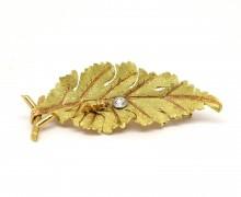 Broche Folha Diamante Ouro Amarelo 18k 750 (2)