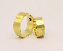 Par de Alianças Wave Zircônio Ouro 18k 750 (8)