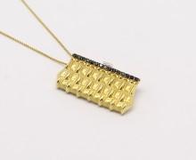 Pingente Bolsinha Safiras Ouro 18k 750 (1)