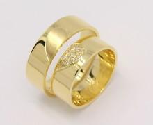 Par de Alianças Coração Diamantes Ouro 18k 750 (1)